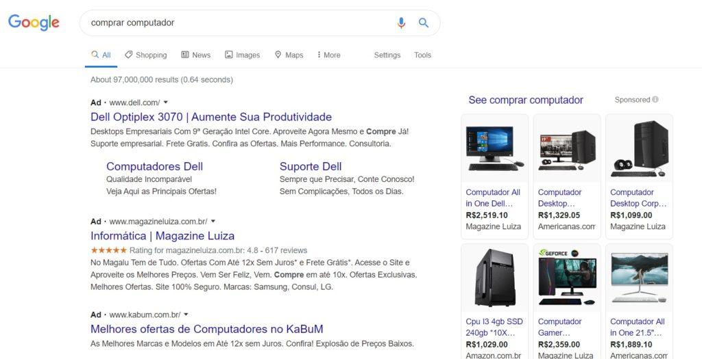 Resultado da pesquisa do Google